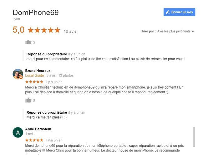avis clients reparation téléphones à Lyon